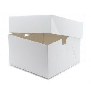 "9"" White Gloss Cake Boxes - 10 pack (1)"