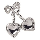 DOUBLE HEARTS WITH BOW SILVER PLASTIC