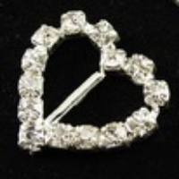 Large Heart Diamante Ribbon Buckle